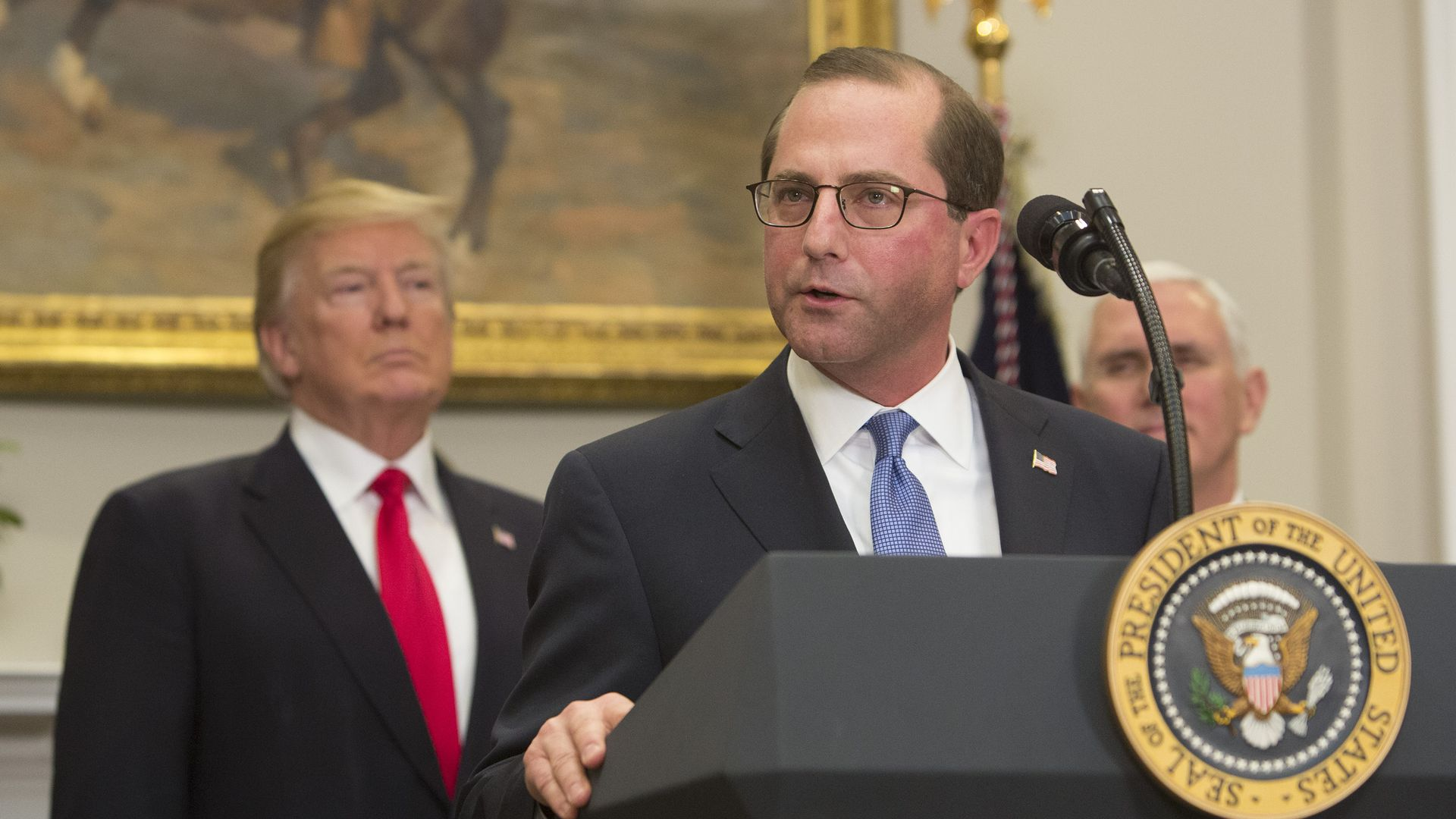HHS Secretary Alex Azar and President Trump