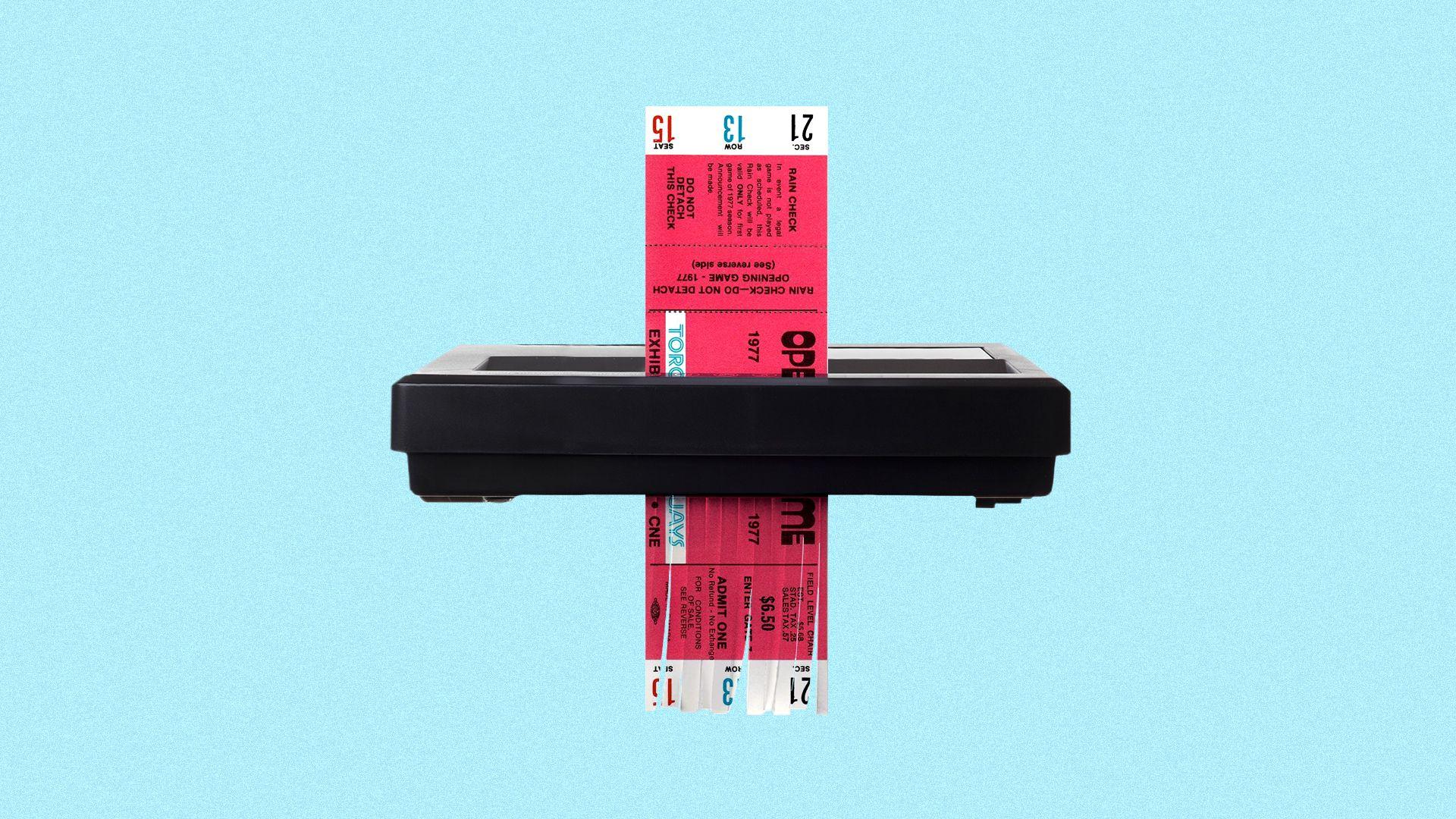 Illustration of an old paper Toronto Blue Jays ticket being shredded