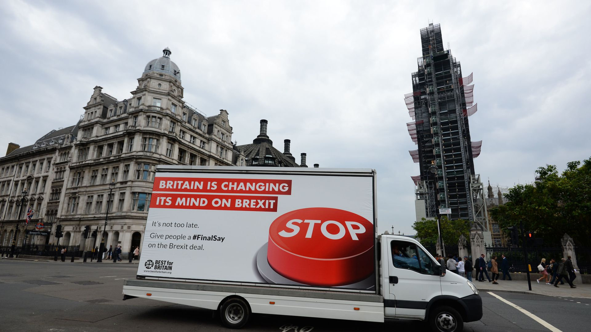 Billboard on the side of a truck rallying against Brexit
