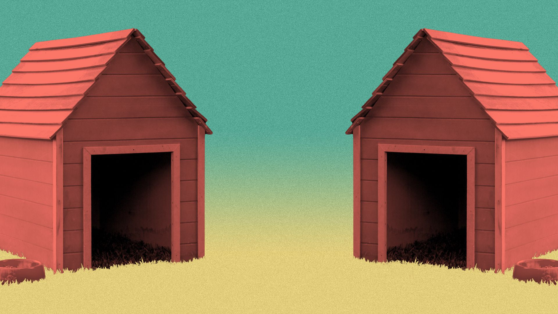 Illustration of two dog houses.