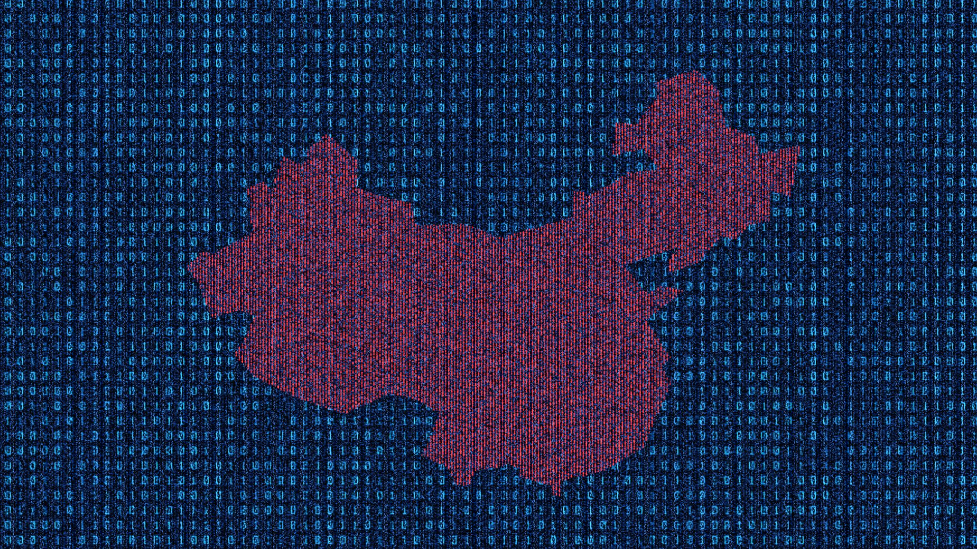 Illustration of a map of china in computer code