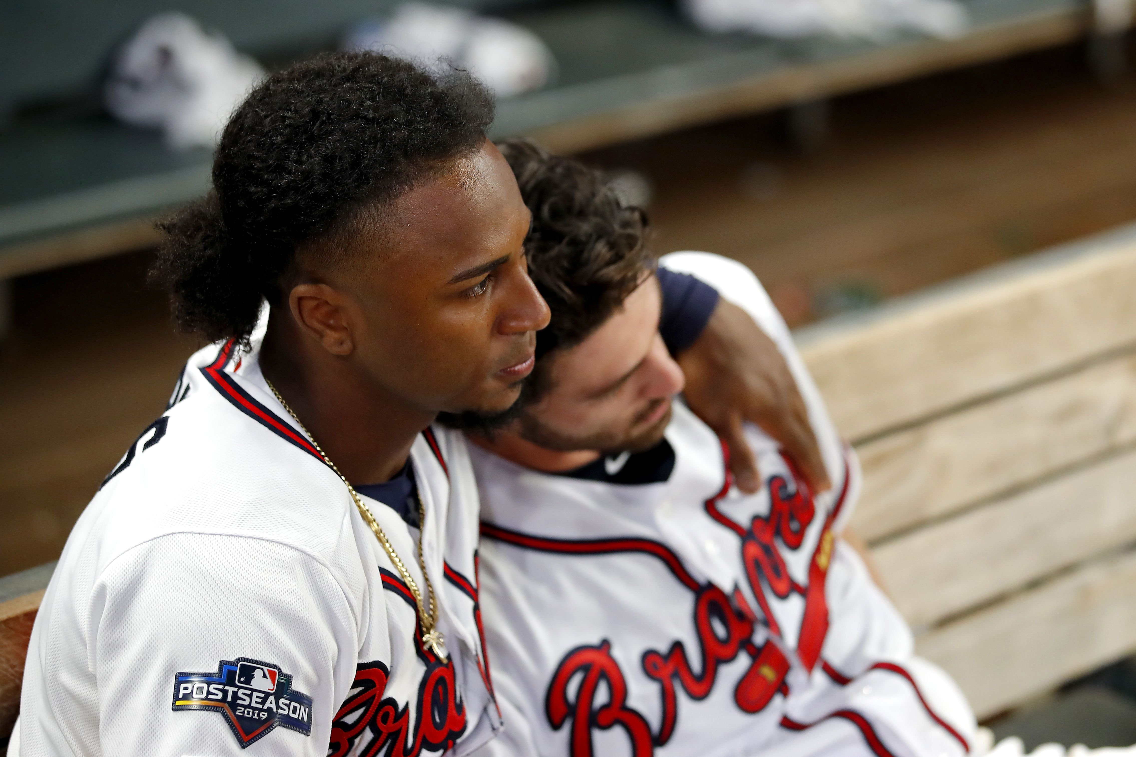 Braves players consoling each other