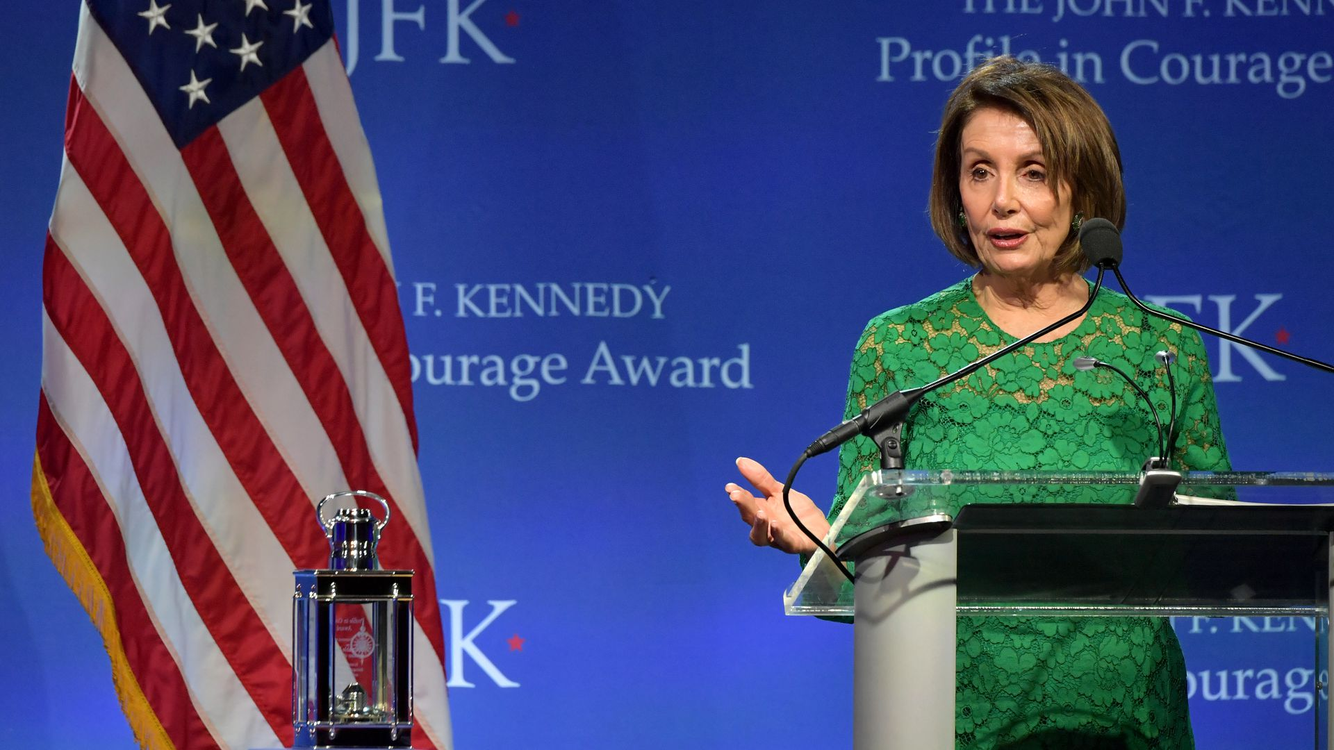 Speaker Nancy Pelosi speaks onstage after receiving the 2019 Profile in Courage Award at The John F. Kennedy Presidential Library And Museum on May 19, 2019 in Boston, Massachusetts.