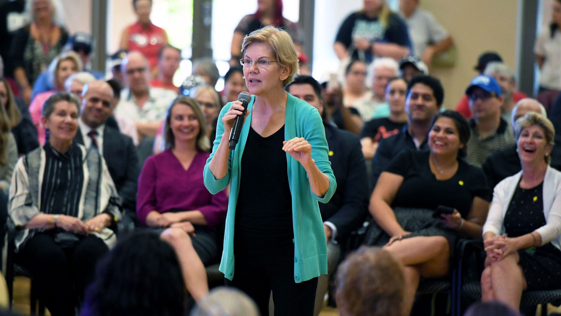 Sen. Elizabeth Warren talking to a group of people in Las Vegas, Nev.