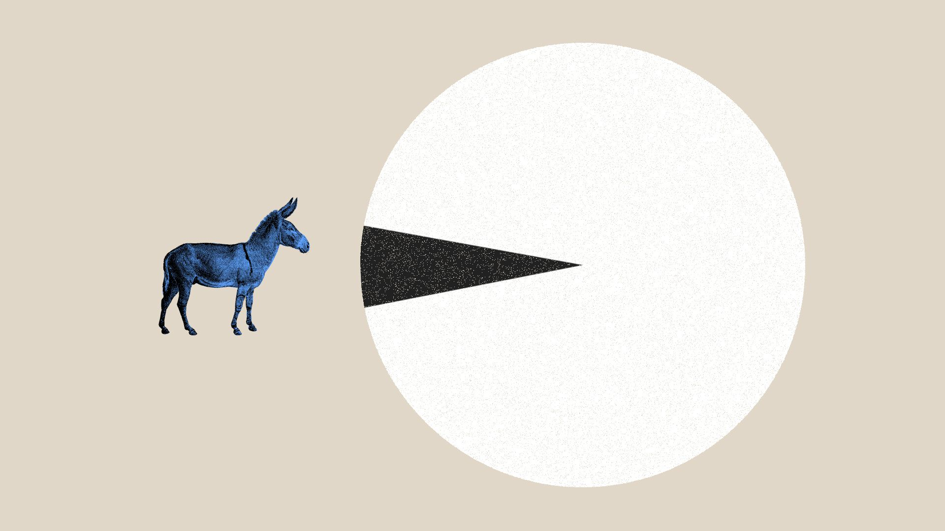Illustration of donkey facing  large pie chart