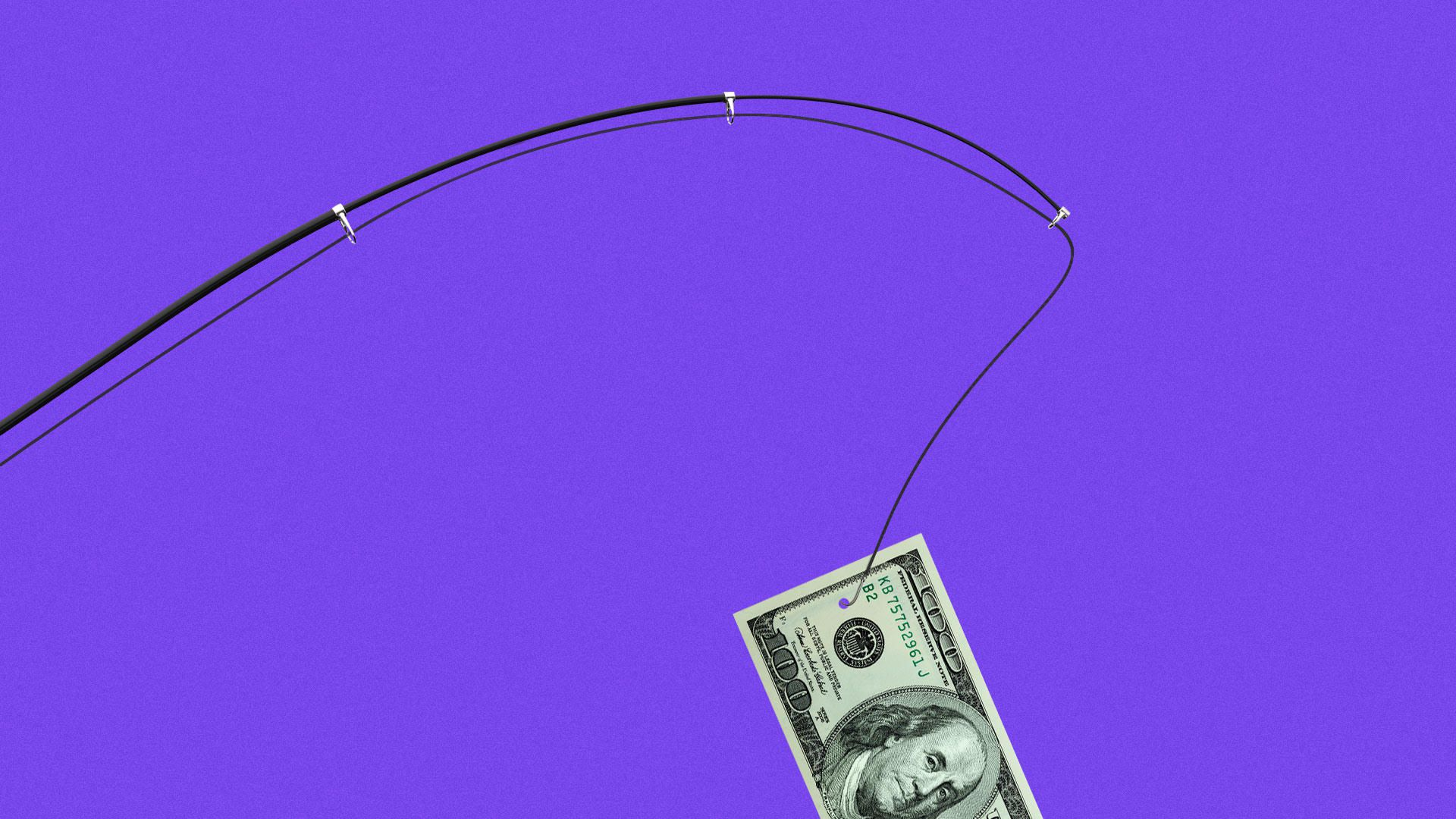 Illustration of a fishing pole with $100 bill.