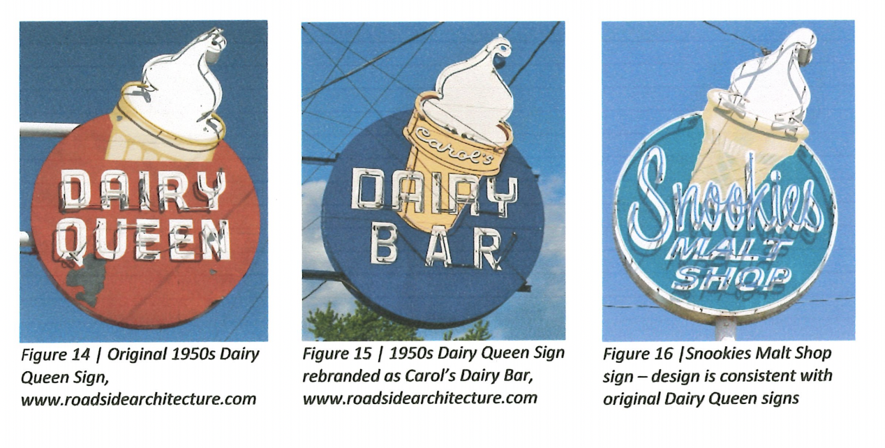 Three photos depicting the evolution of the Snookie's Malt Shop sign in Des Moines.