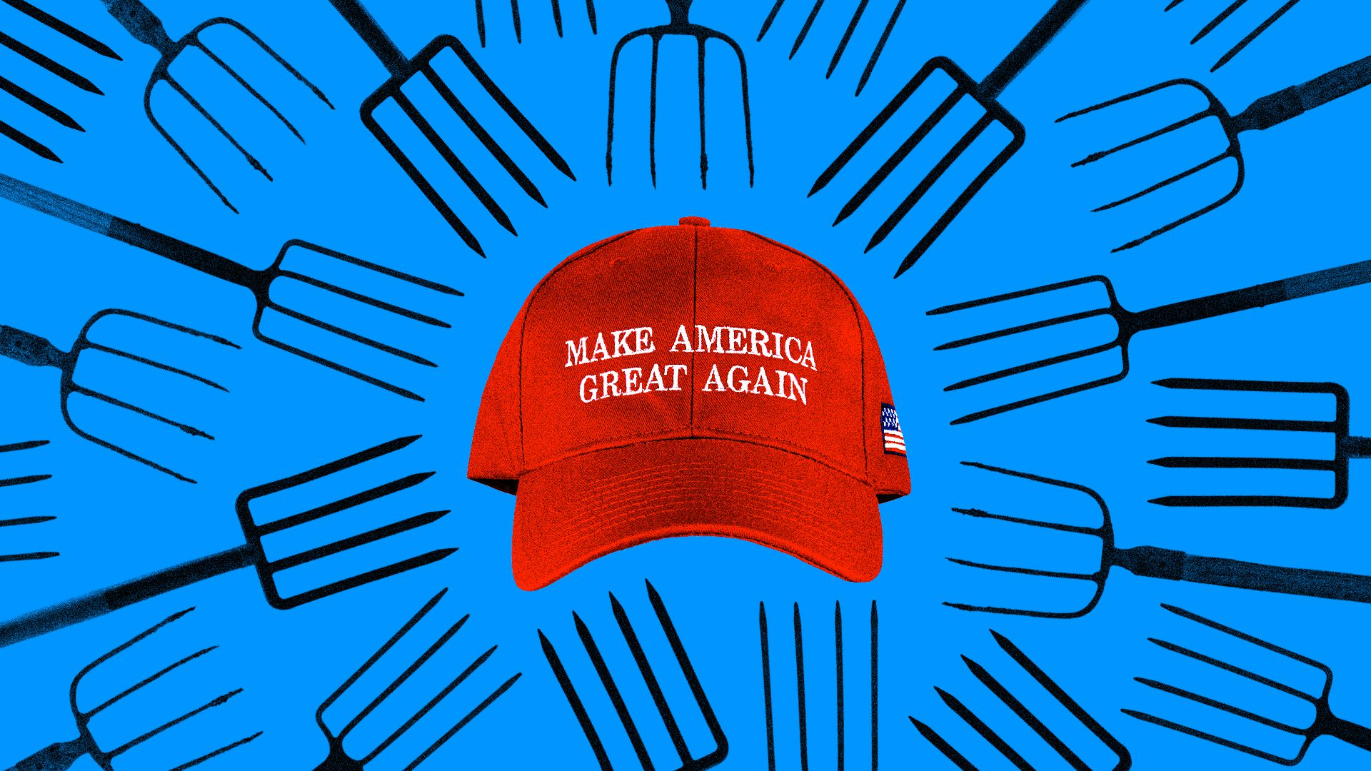 MAGA hat surrounded by pitchforks.