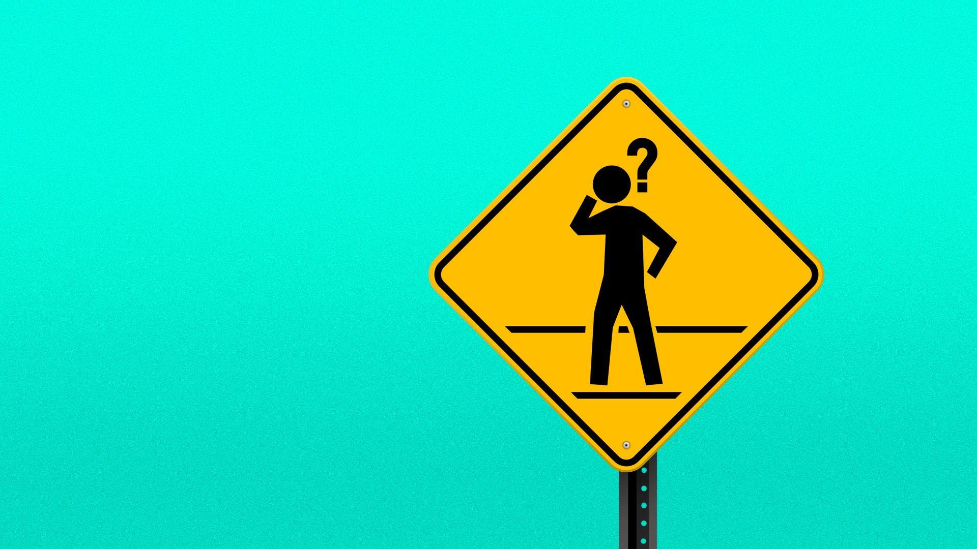 A pedestrian street sign featuring a puzzled pedestrian