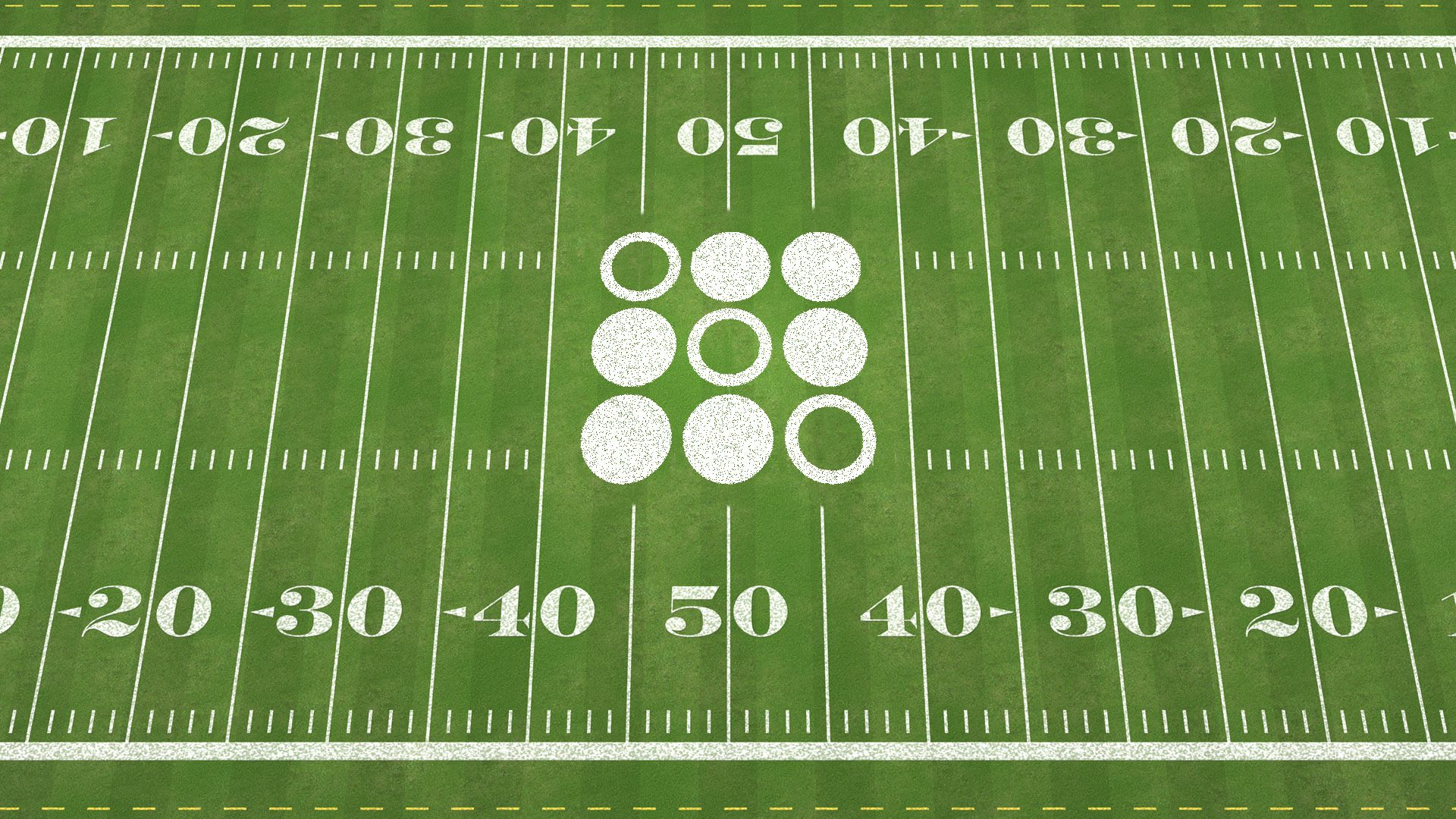 In this illustration, a birds eye view of a football green shows circles in the middle of the field.