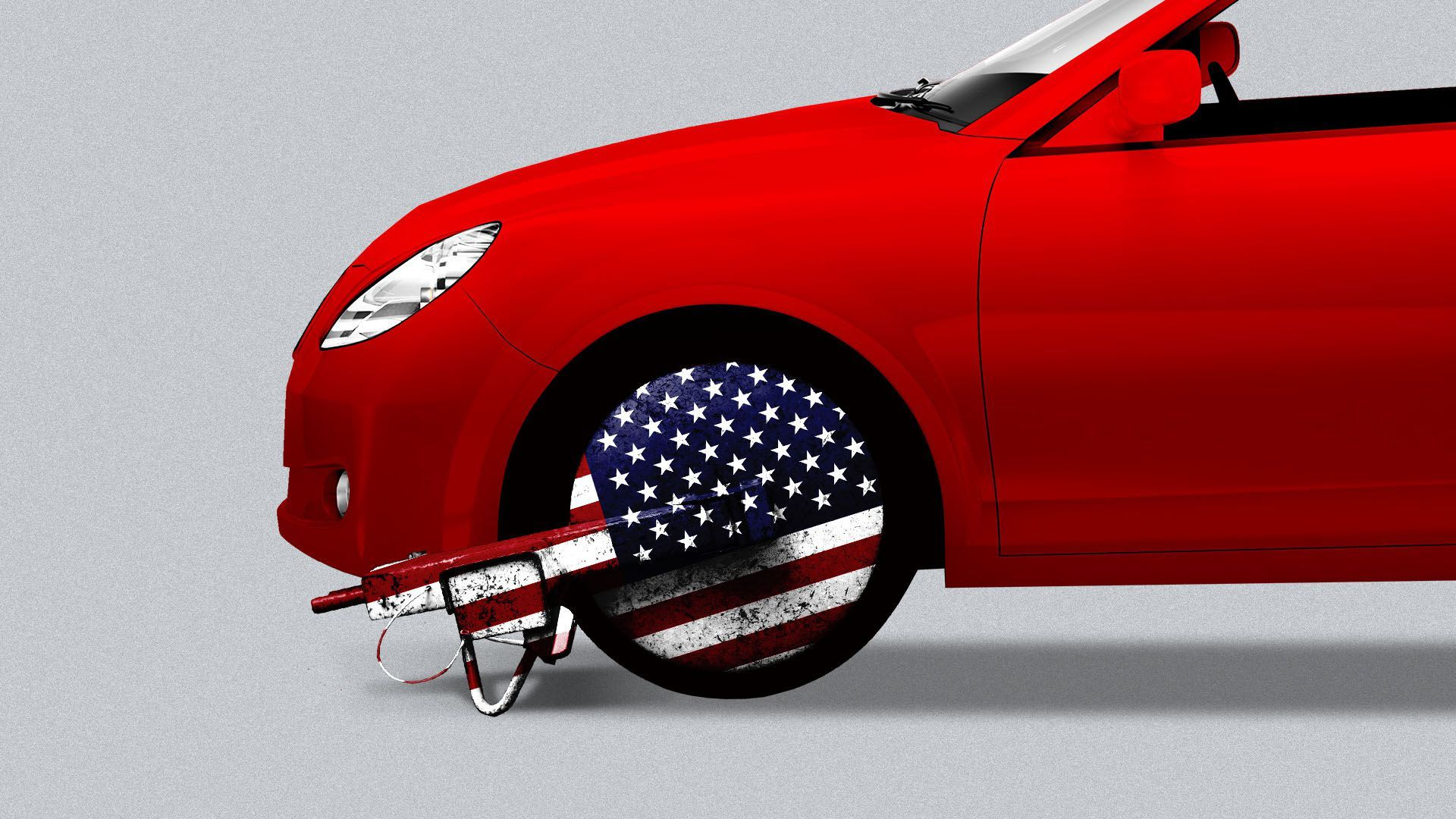 Photo of a car with a boot on the tire that's got the American flag printed on it