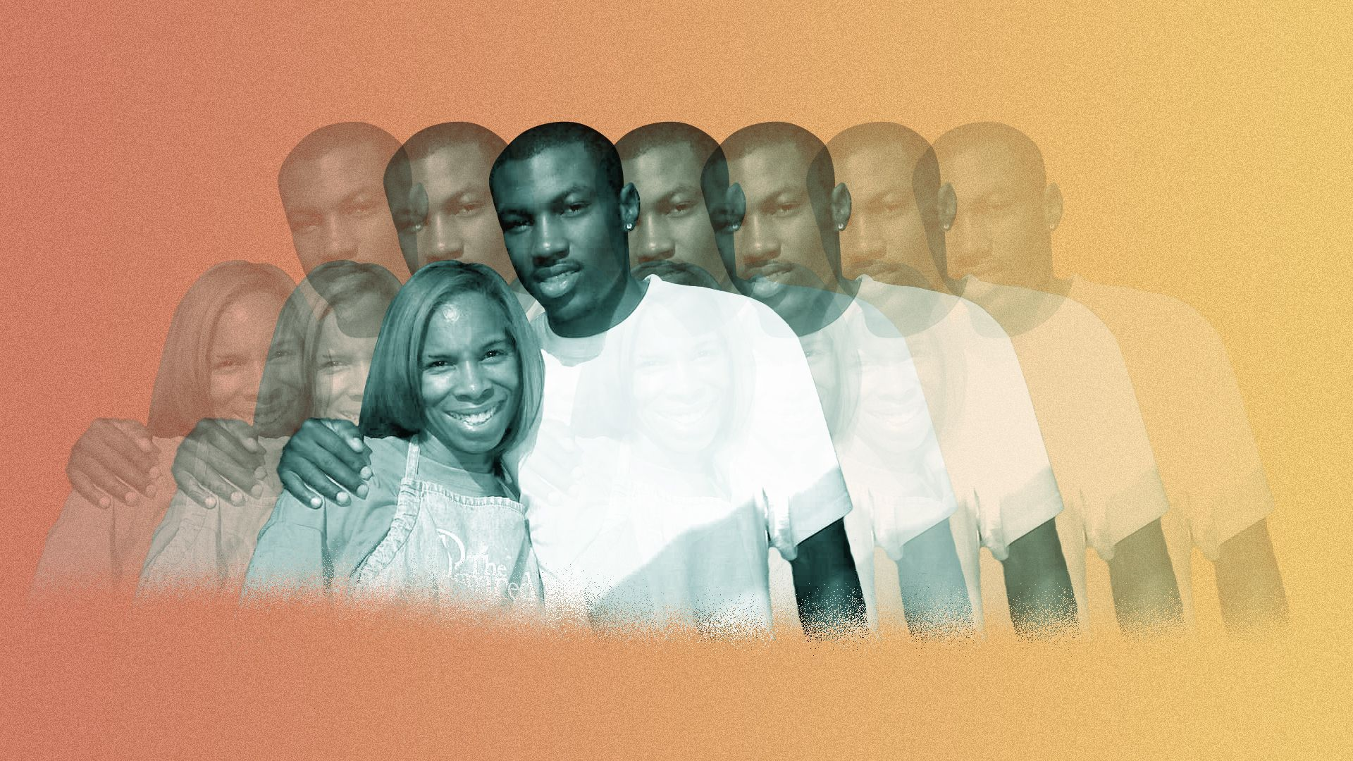Photo illustration of a series of images of Khadeeja and Mikese Morse, some transparent.