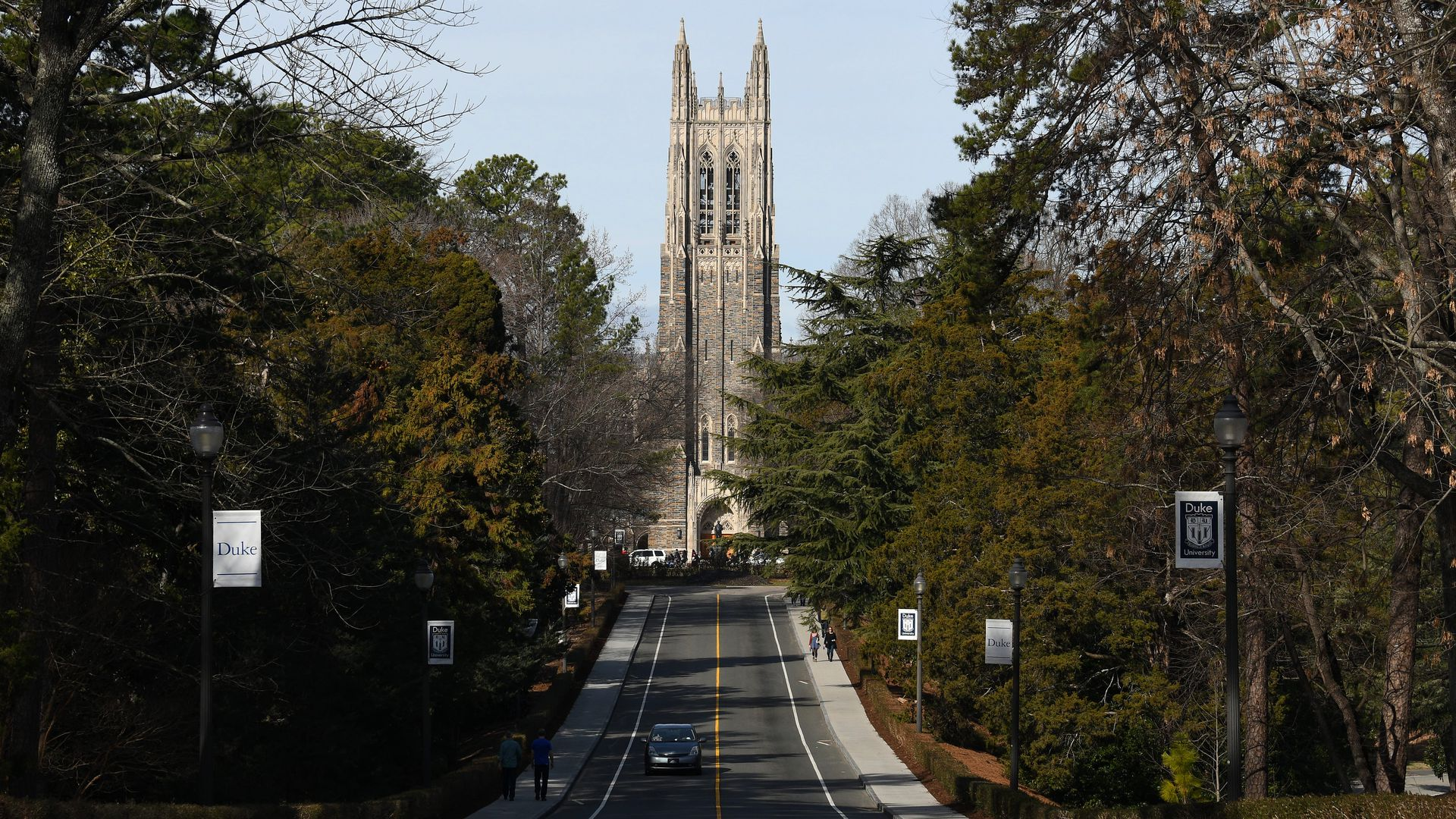 Beautiful long entrance to Duke University, with the chapel at the end