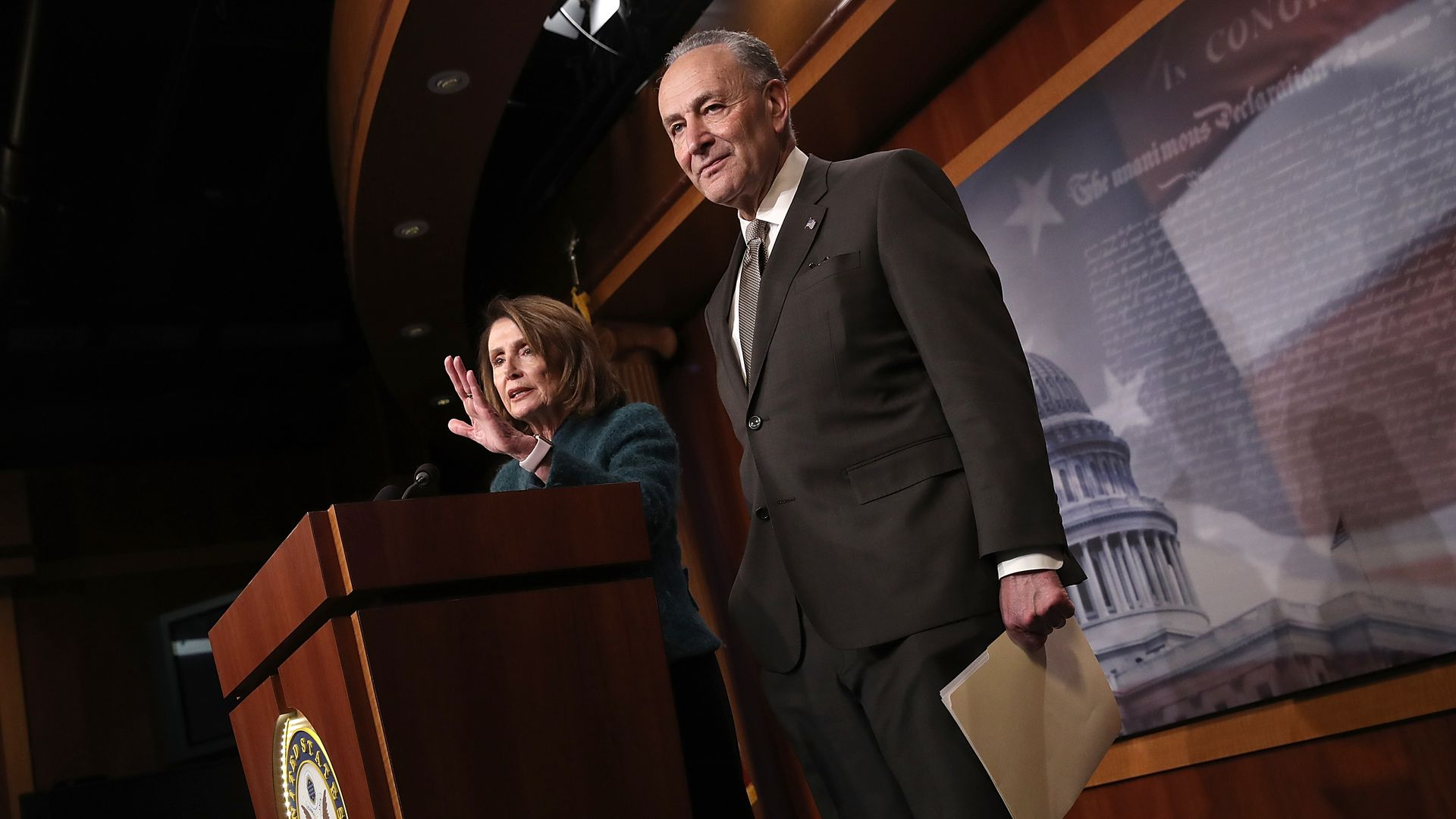 Senate Minority Leader Chuck Schumer (D-NY) and House Minority Leader Nancy Pelosi (D-CA)