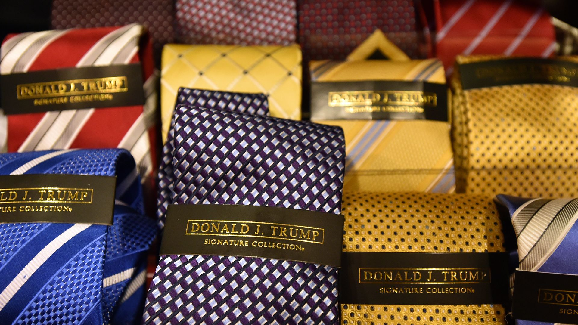 Donald J. Trump brand ties are seen inside the Trump International Hotel in Las Vegas, Nevada on February 23, 2016.