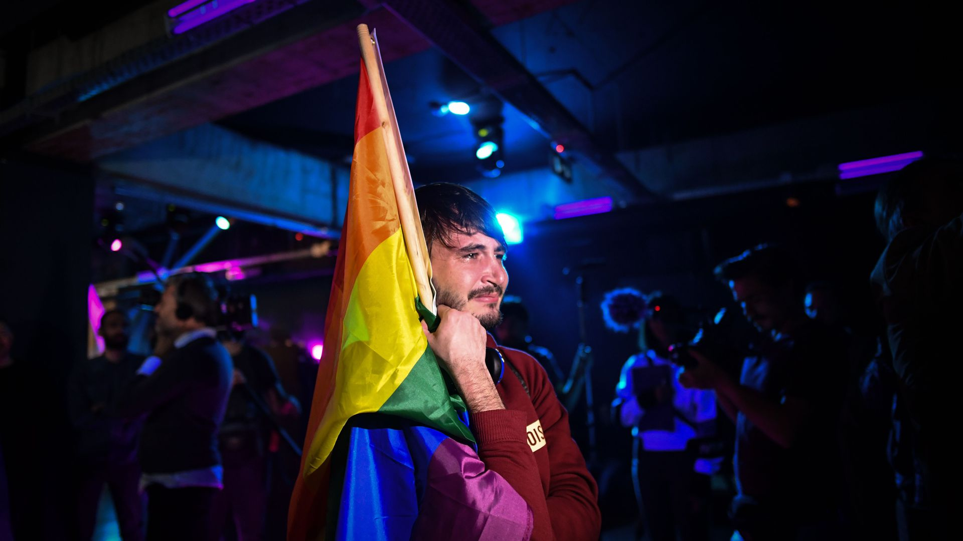 A member of the LGBT community gets emotional before results of referendum to stipulate that marriage is between a man and a woman. Photo: Daniel Mihailescu/ AFP/Getty Images