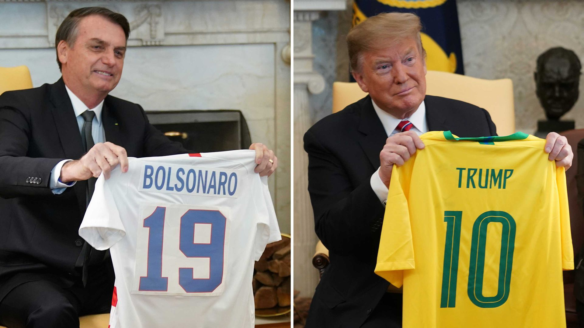 The two exchanged soccer jerseys in the Oval Office yesterday. (Chris Kleponis/Pool/Getty Images)