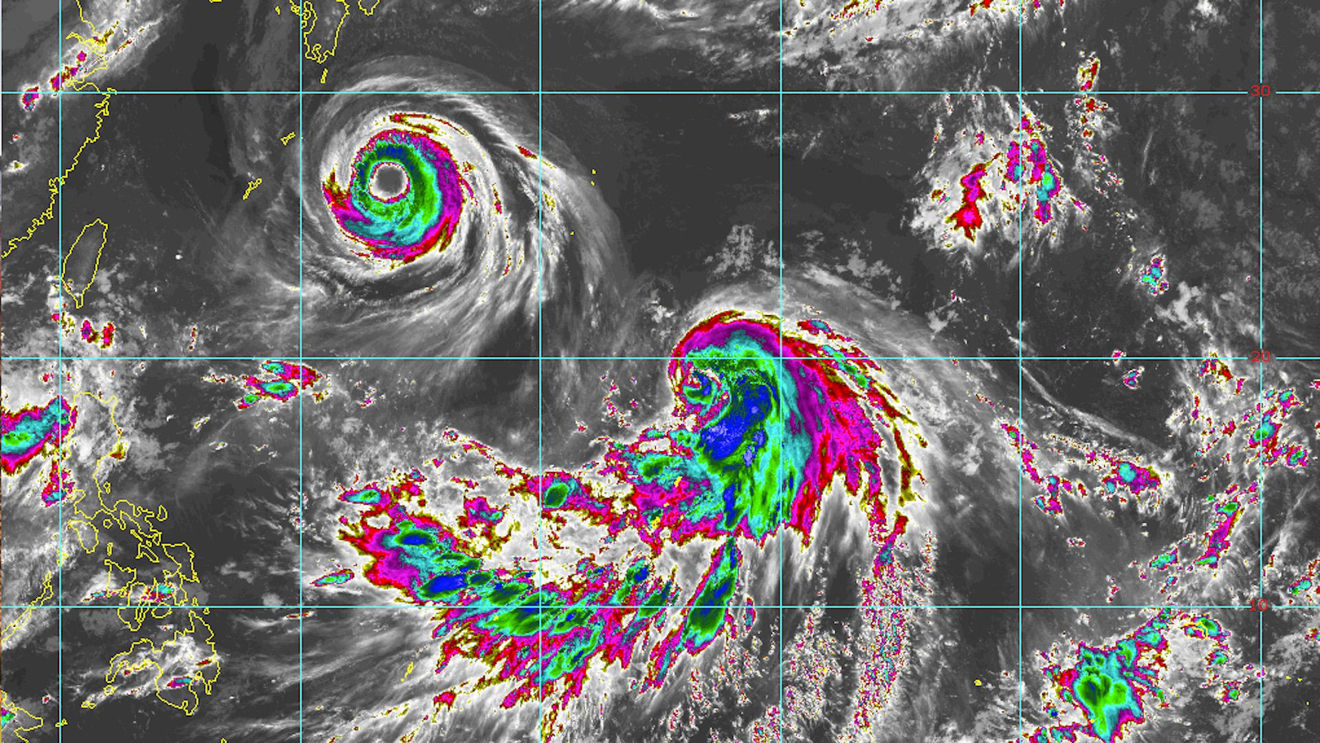 Typhoons Soulik and Cimaron shown in the Northwest Pacific Ocean on Aug. 20, 2018.