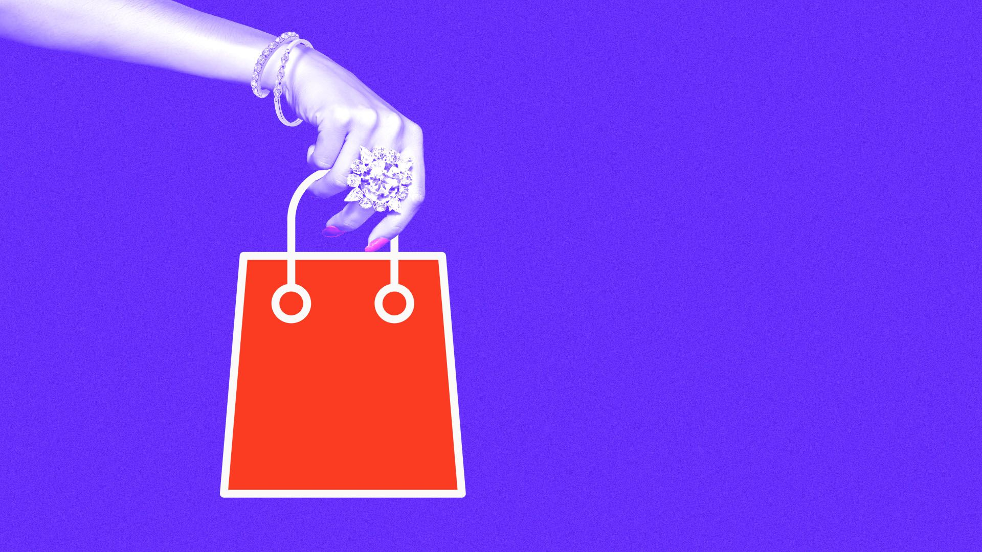 Illustration of a hand covered in jewelry holding a computer icon shopping bag
