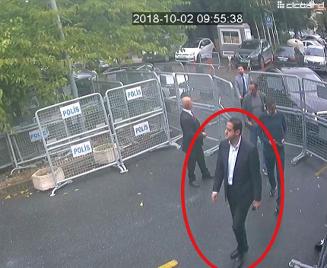 A photo of a man identified by Turkish officials as Maher Abdulaziz Mutreb, a Saudi intelligence officer close to the crown prince, walks toward the Saudi consulate.