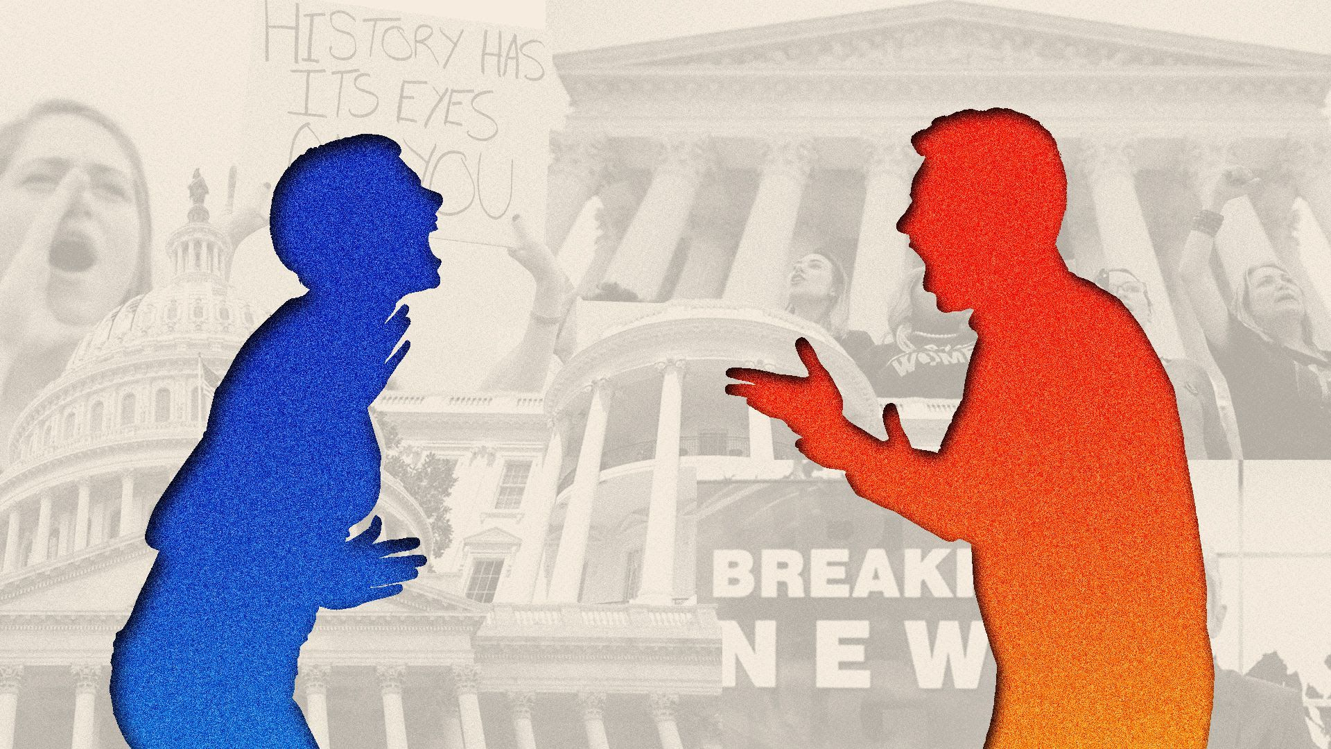 An illustrations of a blue person and a red person screaming at one another set against a partisan backdrop in Washington