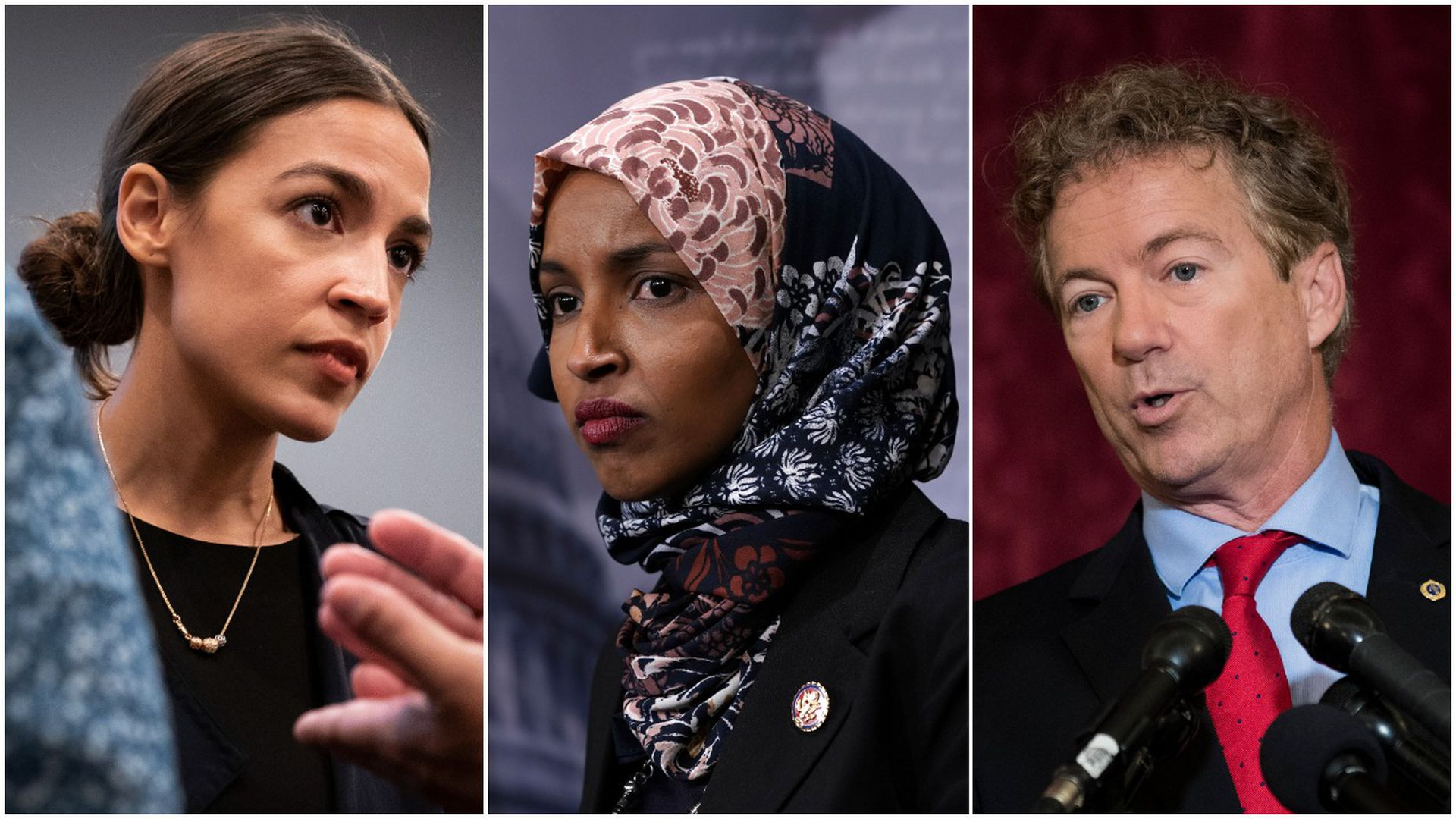 Reps. Alexandria Ocasio-Cortez, Ilhan Omar and Sen. Rand Paul