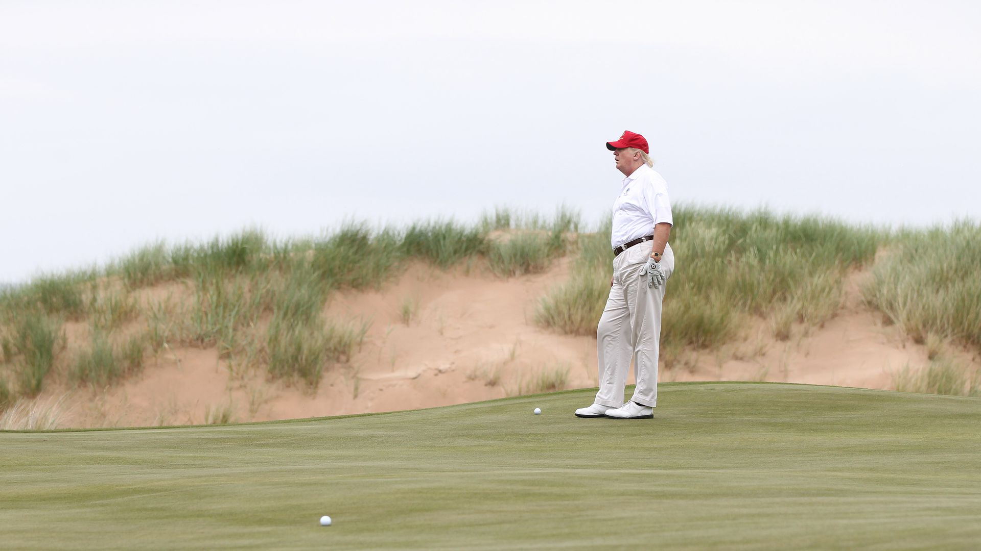 Trump at his golf course in Scotland