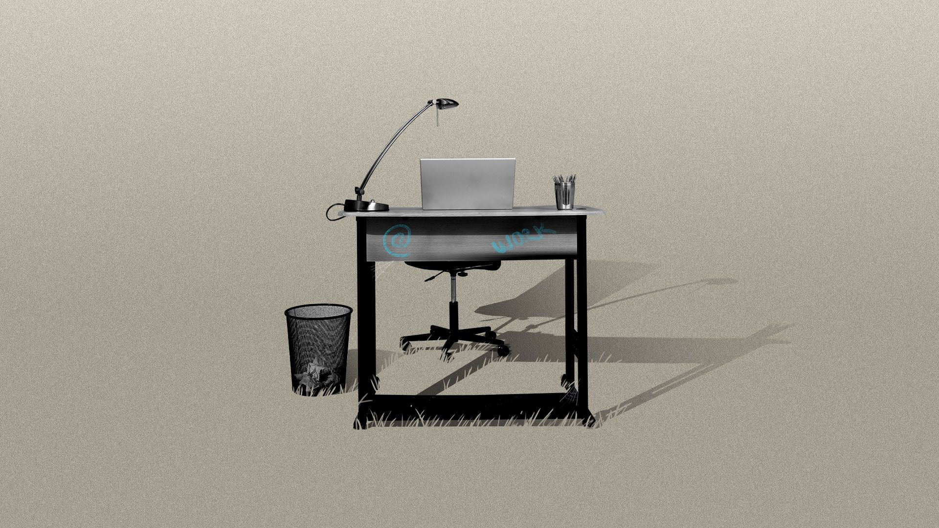 Illustration of an office desk sitting abandoned in a field