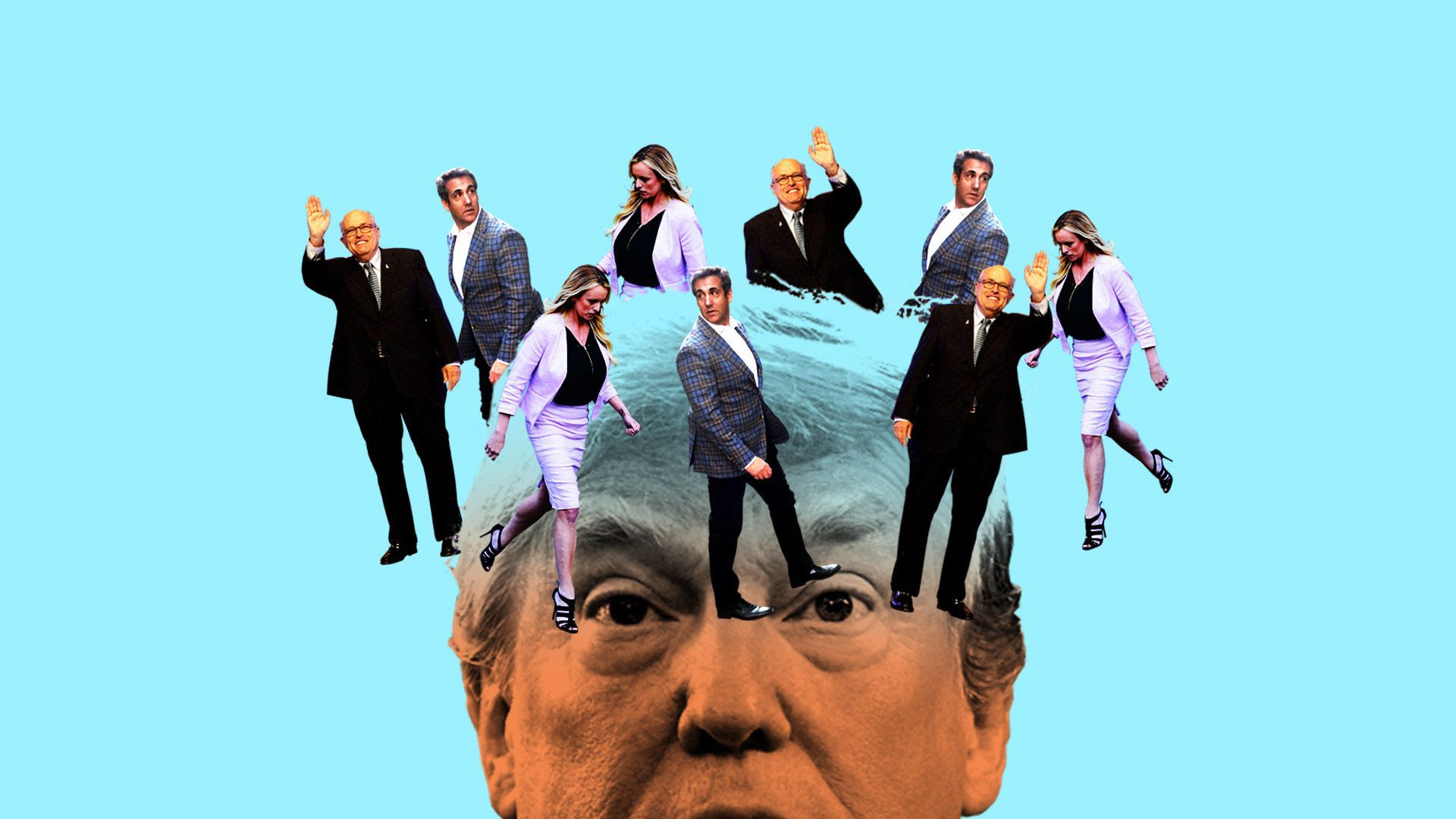 An illustration of Stormy Daniels, Michael Cohen and Rudy Giuliani circling Trump's head