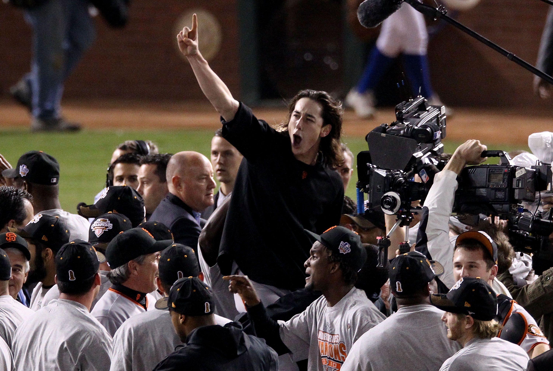 Tim Lincecum celebrating the World Series win