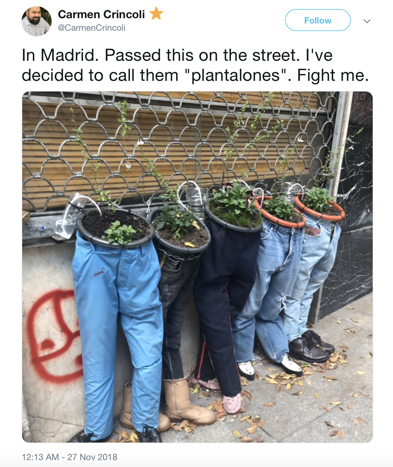 a tweet about old jeans turned into planters.