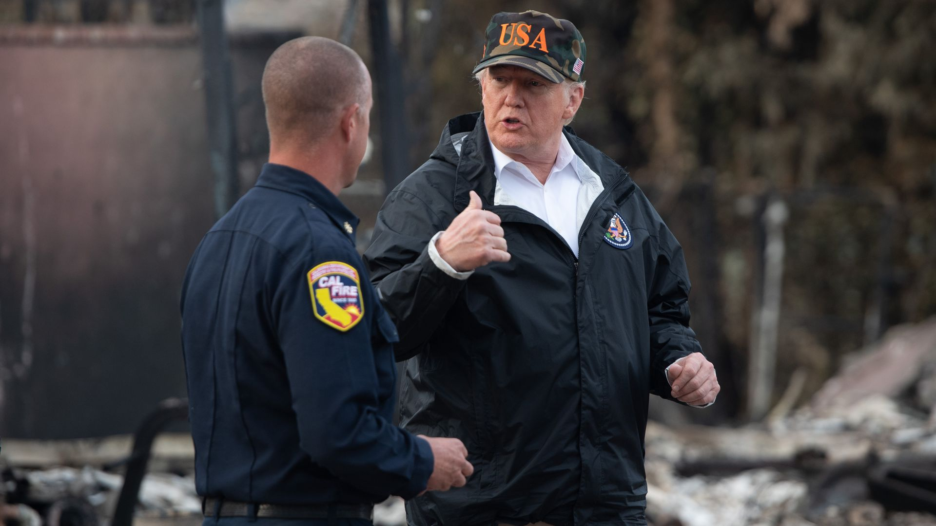 Trump with officer in california