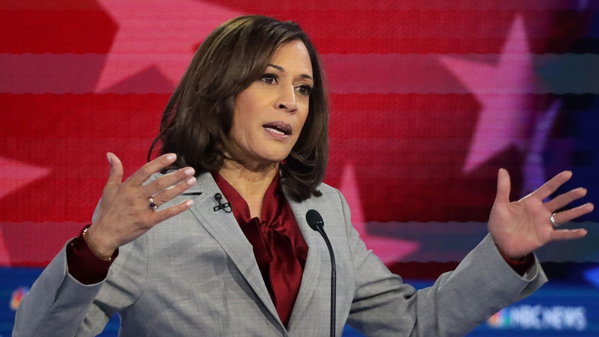 Kamala Harris during the Democratic Presidential Debate at Tyler Perry Studios November 20
