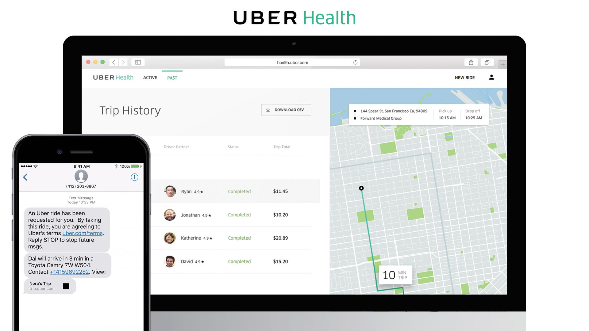 A computer screen and smartphone showing the Uber Health app.