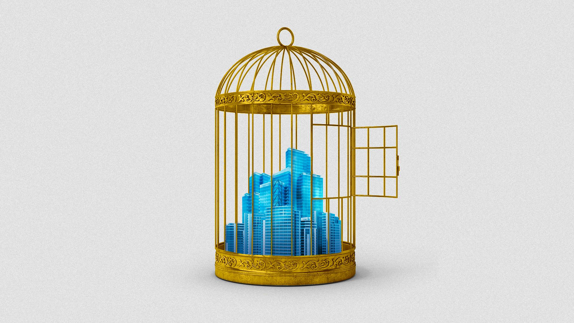 Illustration of a city inside of an opened bird cage.