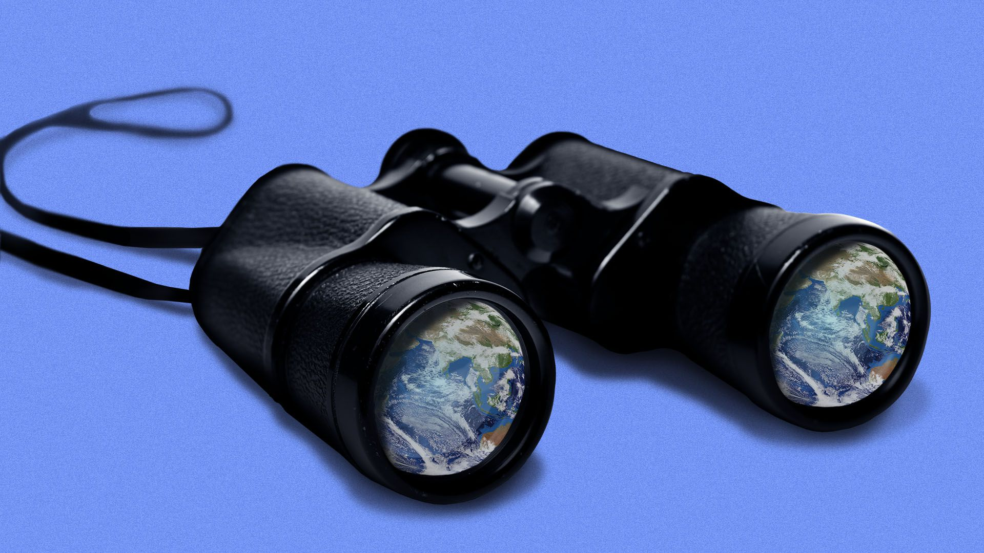 Illustration of a pair of binoculars with the earth reflected in the lenses