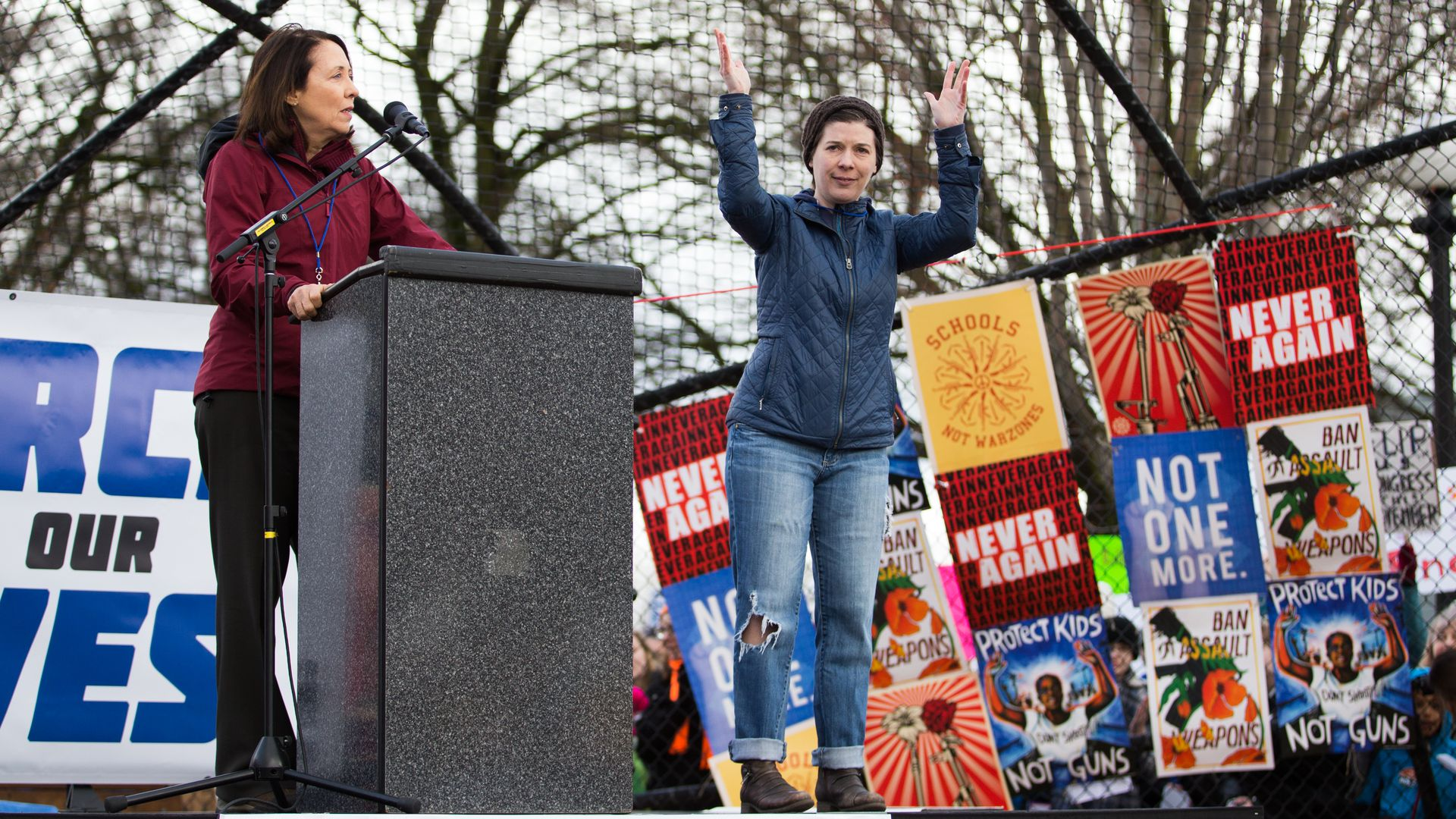 Democratic Senator Maria Cantwell, left, speaks at Cal Anderson Park during the March for Our Lives rally on March 24, 2018 in Seattle, Washington.