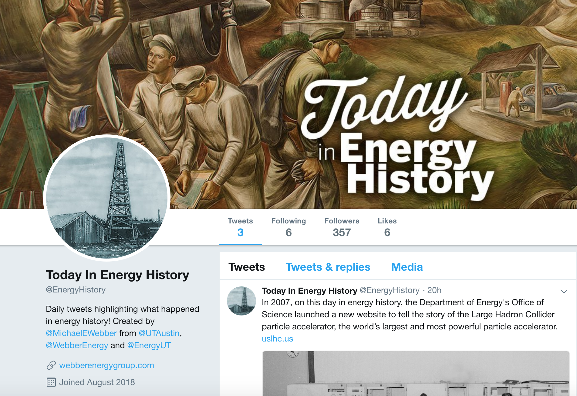 Screenshot of the top graphic of the new Twitter energy feed