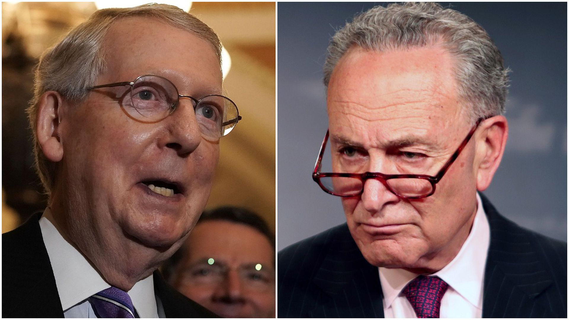 Close up of Mitch McConnell on the left and Chuck Schumer on the right