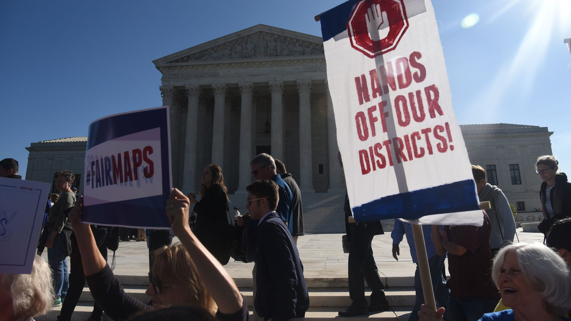 Demonstrators gather outside of the Supreme Court during an oral arguments in Gill v. Whitford last October. Photo: Olivier Douliery/Getty Images