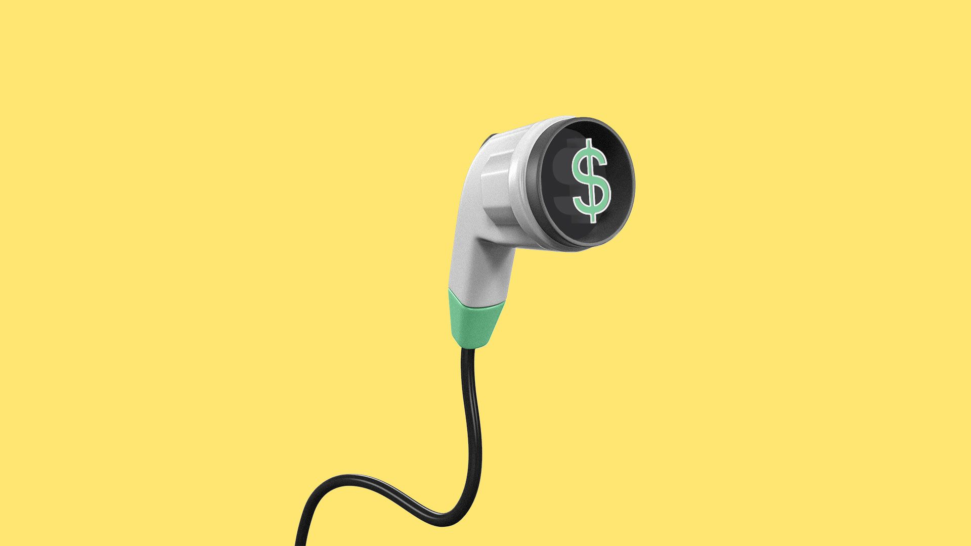 Illustration of an electric car charging pump with a dollar bill as the prong.