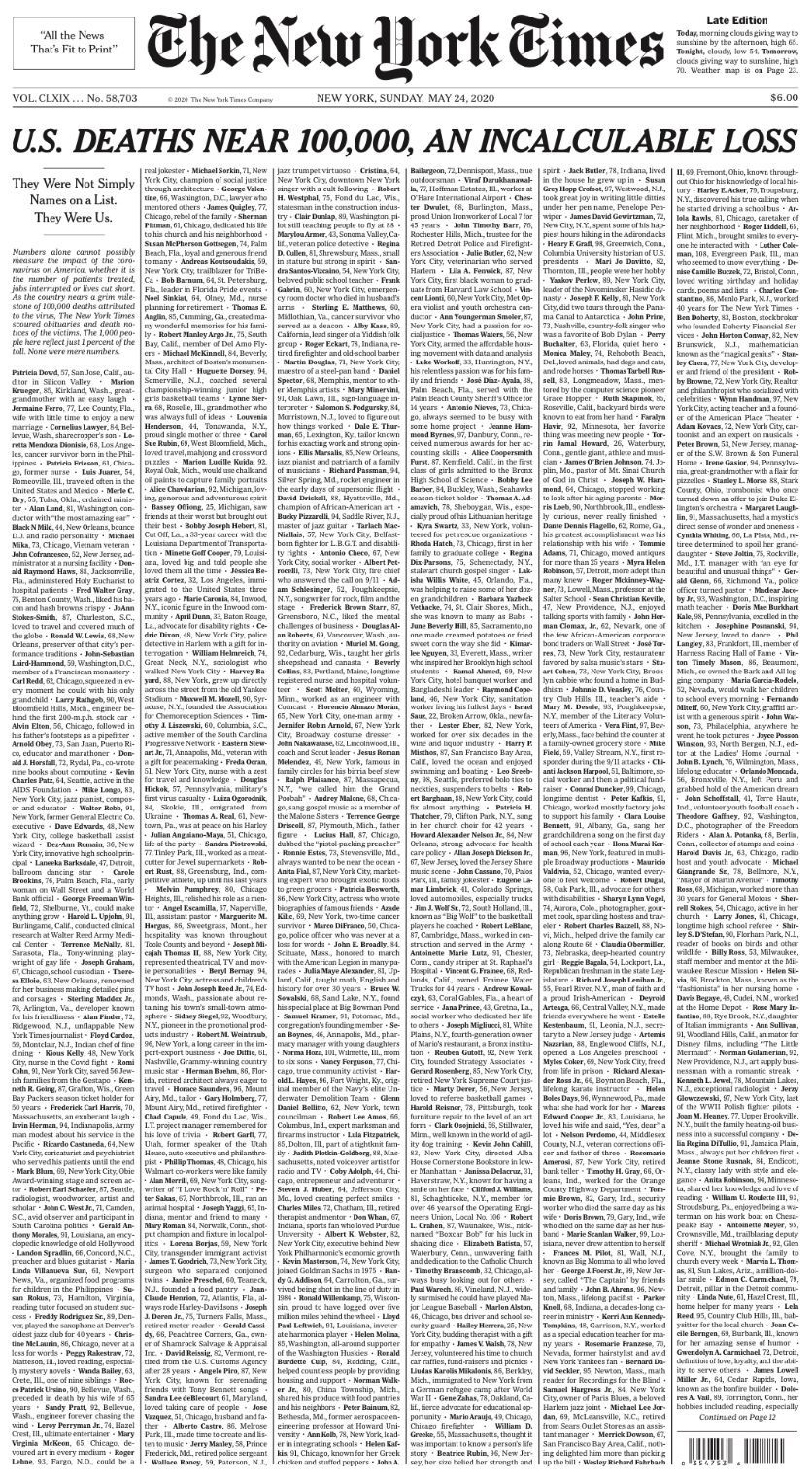 New York Times front page honors 1,000 Covid-19 victims - Axios
