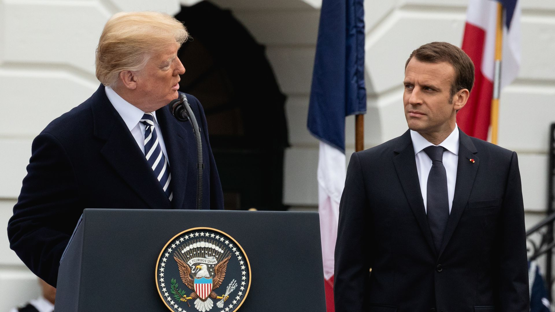 Emmanuel Macron at an event with Trump
