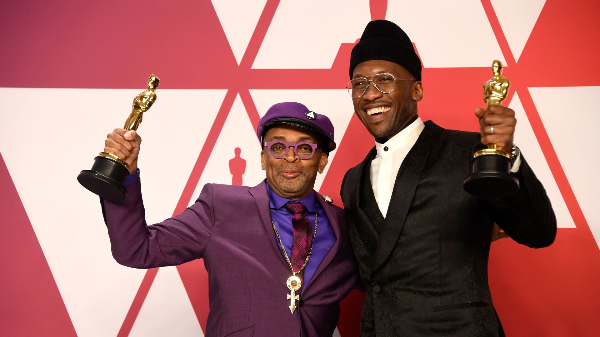 Spike Lee and Mahershala Ali pose in the press room during the 91st Academy Awards