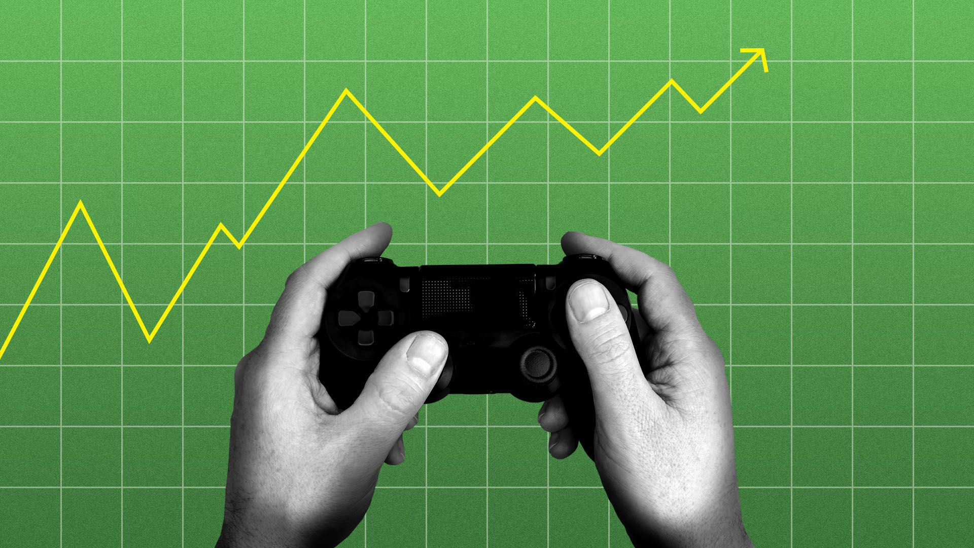 Illustration of a gamer and a line graph