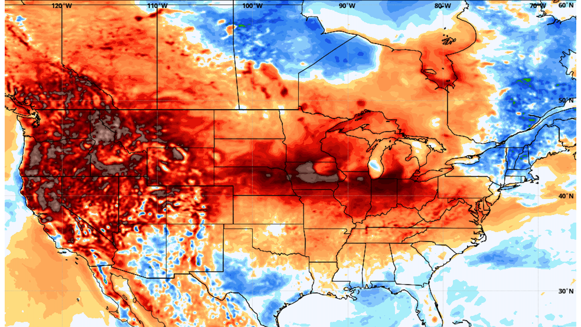Map showing red hues covering the U.S. and parts of Canada as another heat wave hits the region.