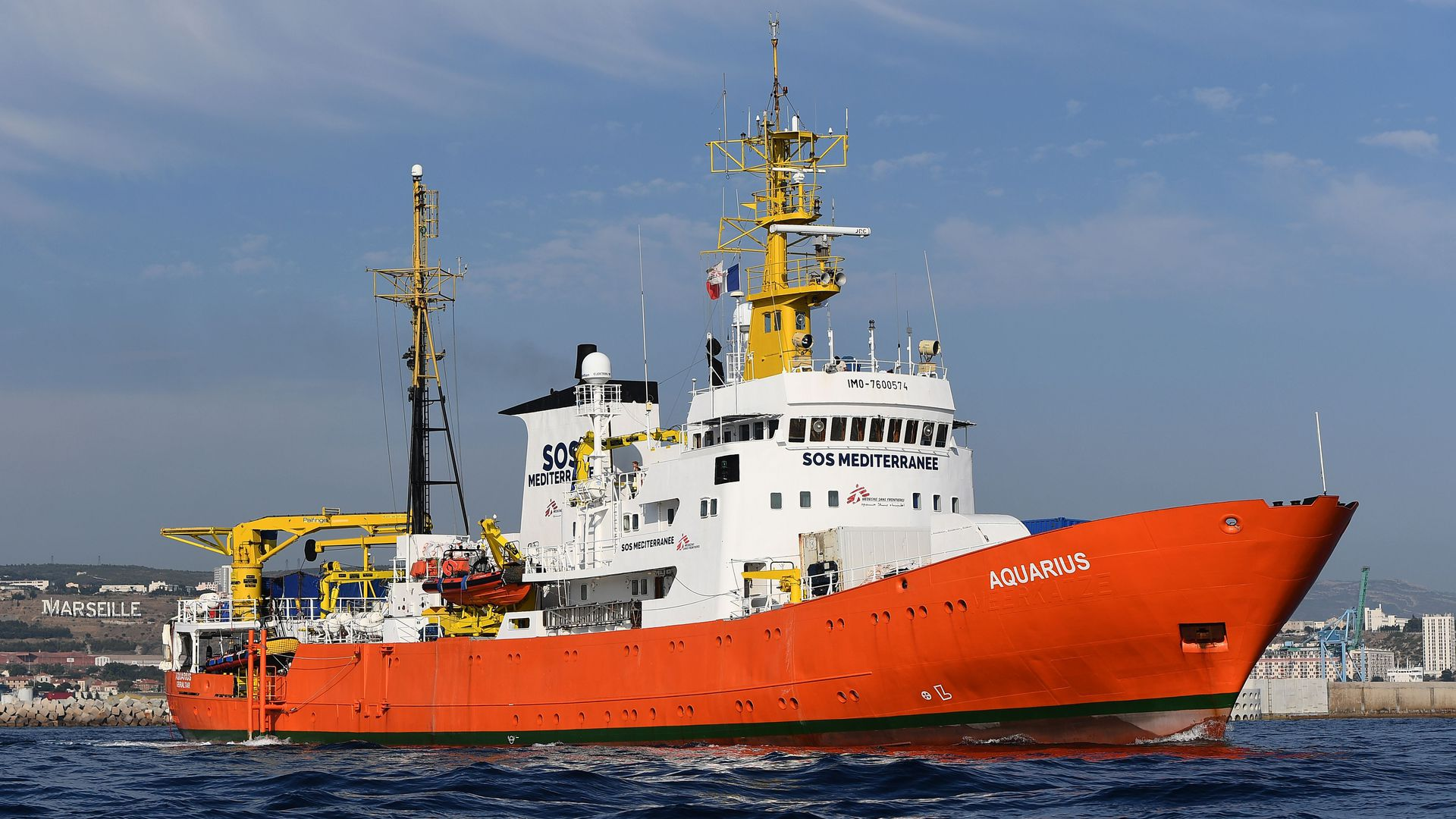 The rescue ship Aquarius, chartered by French aid group SOS Mediterranee and Doctors Without Borders. Photo: Boris Horvat/AFP/Getty Images