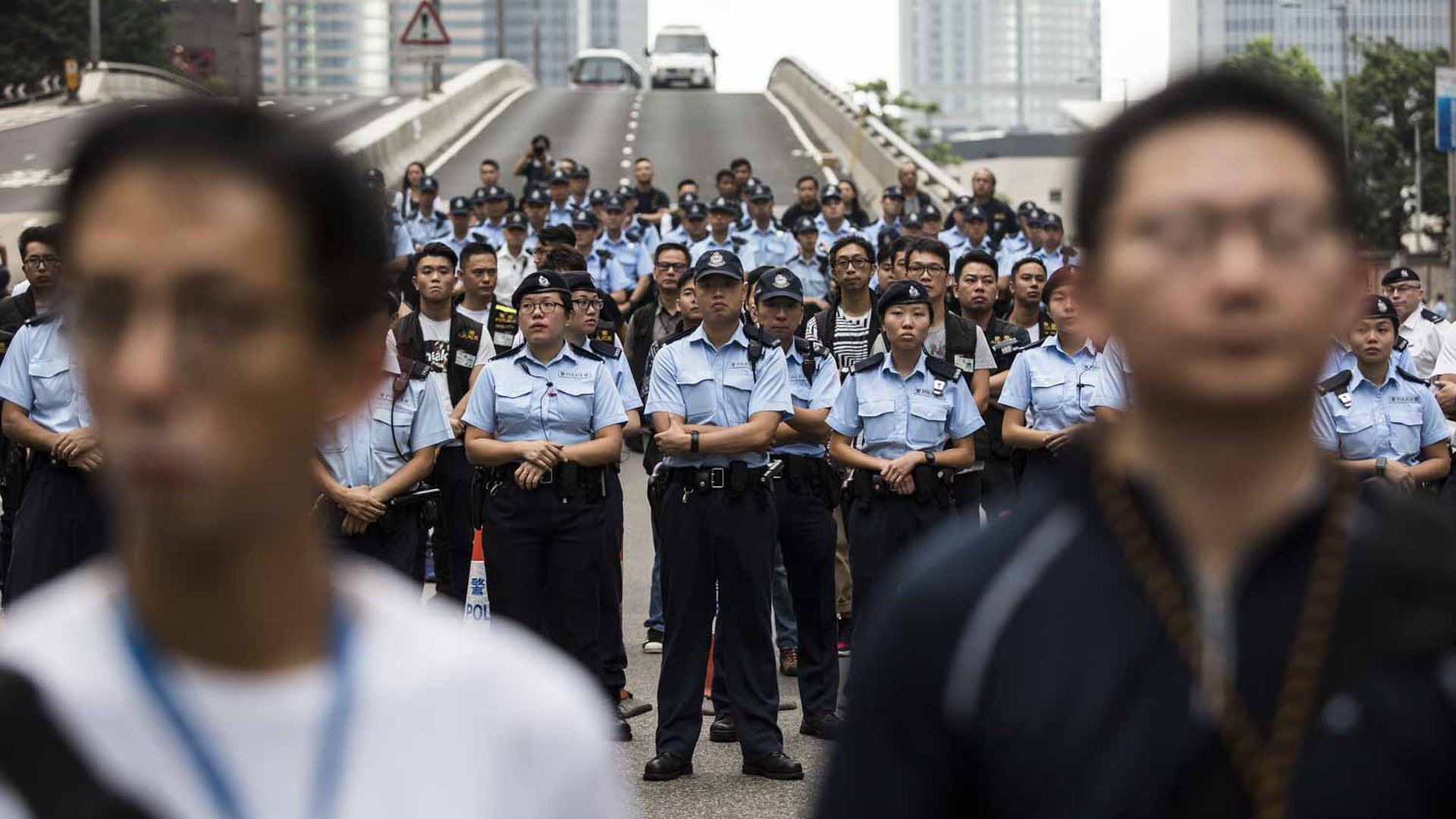 Police clear Hong Kong's streets.