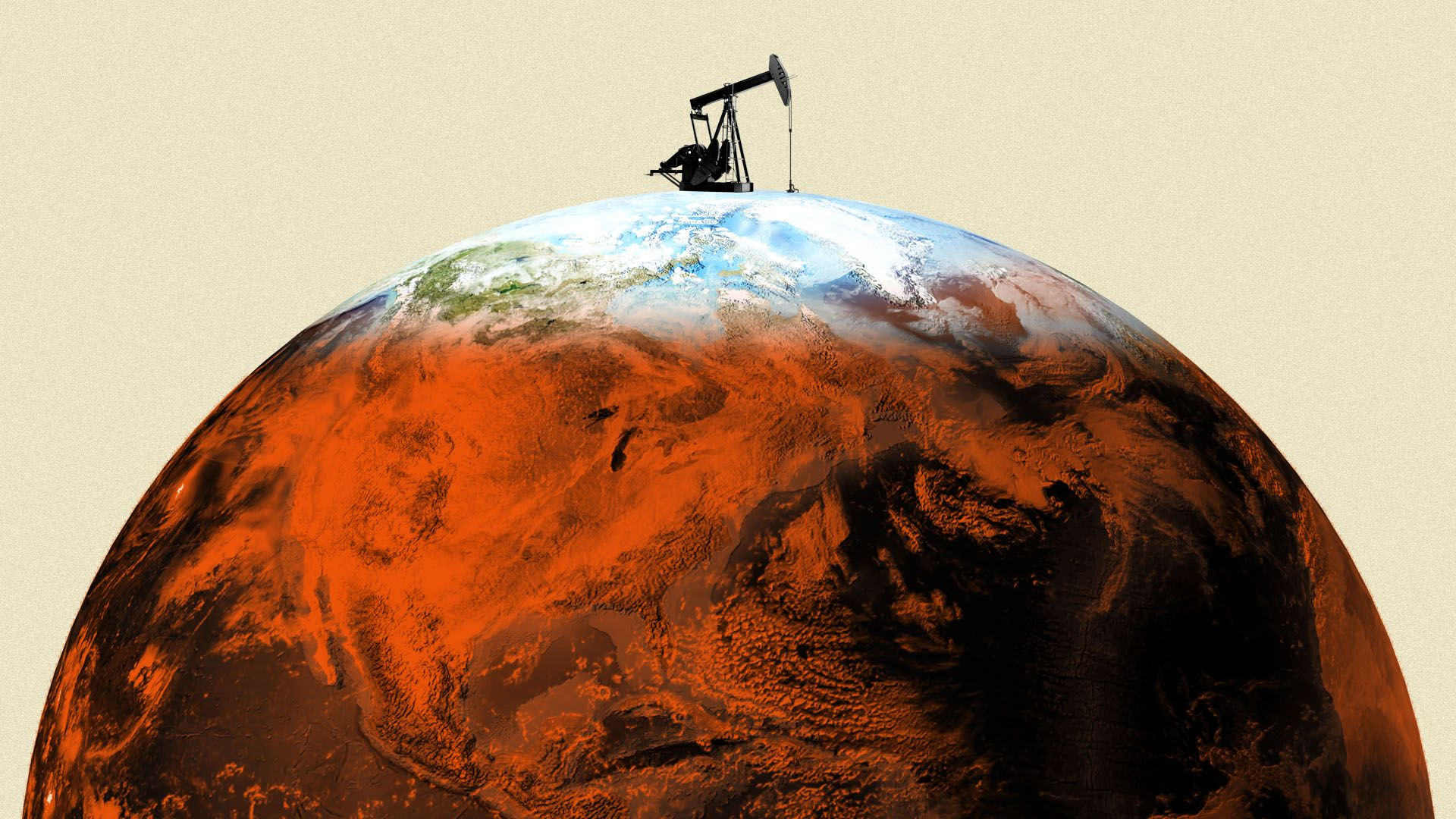Illustration of a tiny natural gas rig on top of a warming planet