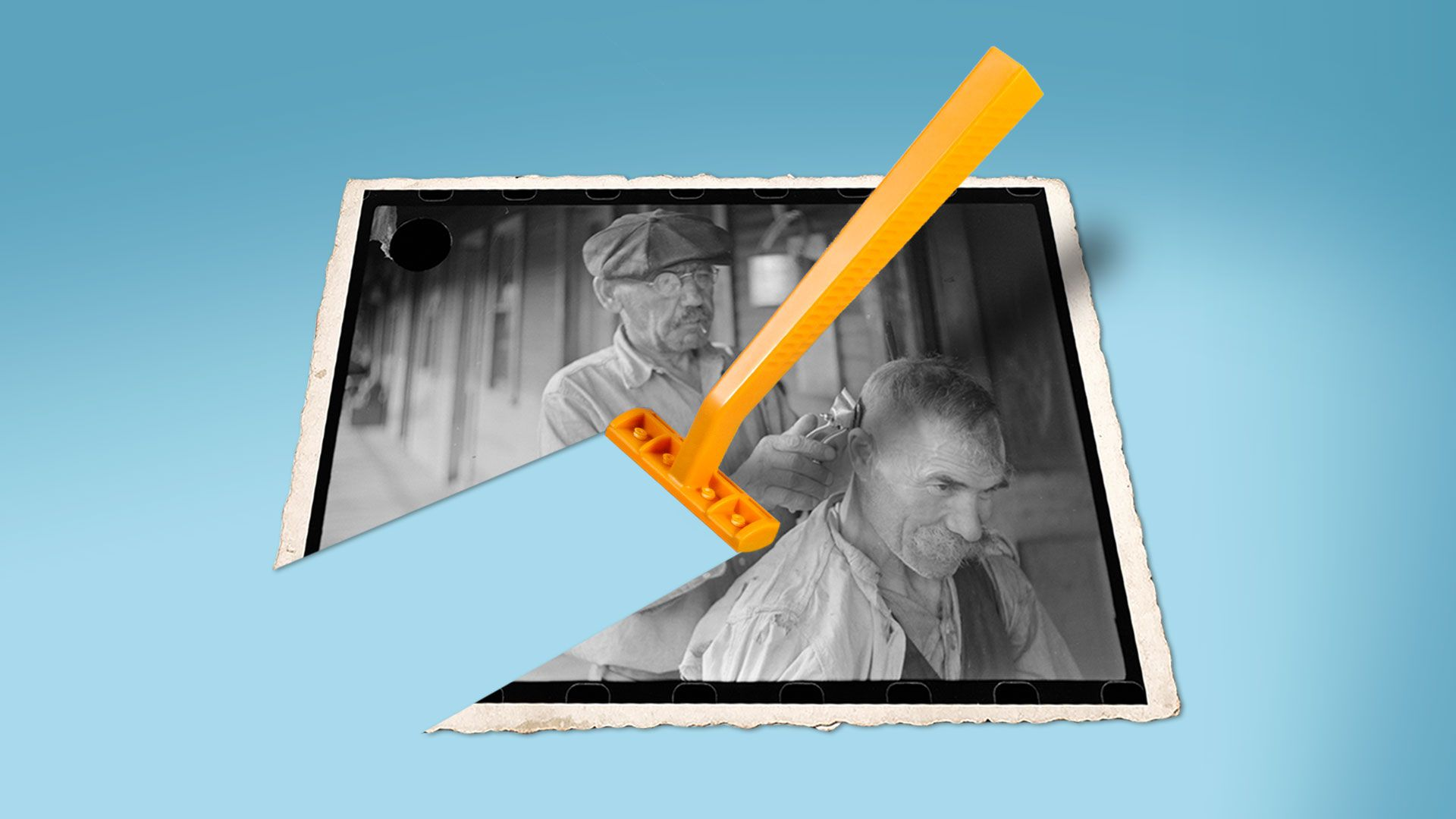 Illustration of a new shaving razor shaving away an old timey photograph of a barber
